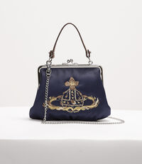 Satin Dolly Frame Purse Navy
