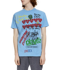 Boxy T-Shirt Meaningless Print Baby Blue