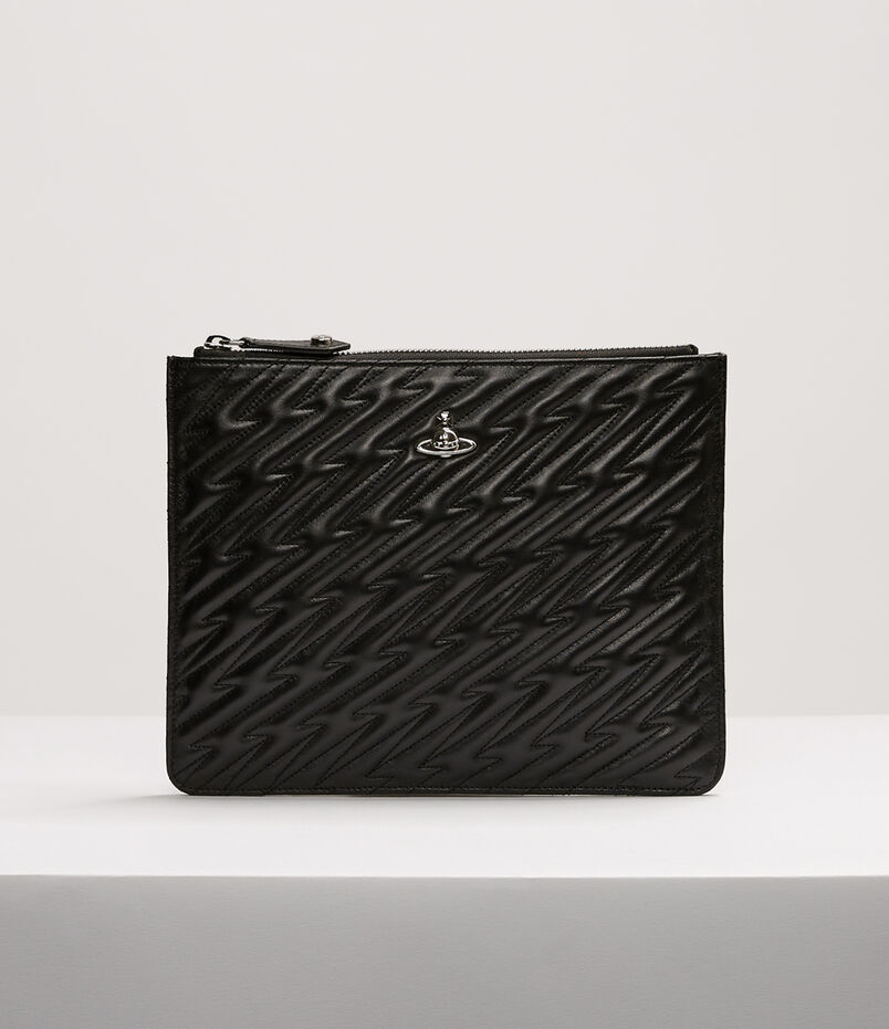 Vivienne Westwood Coventry Quilted Leather Pouch In Black