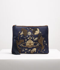 Satin Dolly Pouch Navy