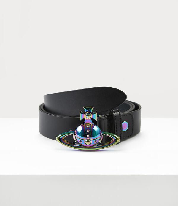 Orb Buckle Iridescent Belt Black