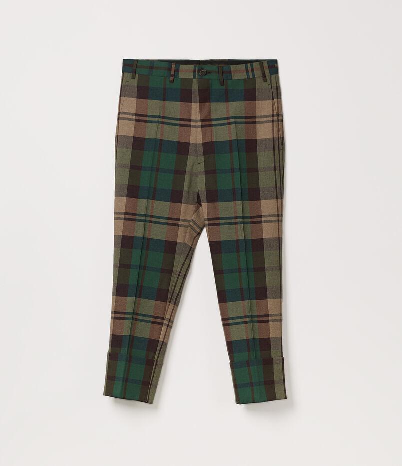 George Cropped Trousers Green Tartan