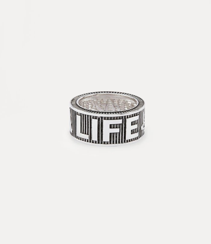 Get A Life Band Ring Silver-Tone 3