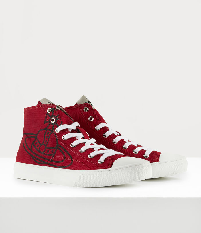 Men'S High Top Plimsolls Red 2