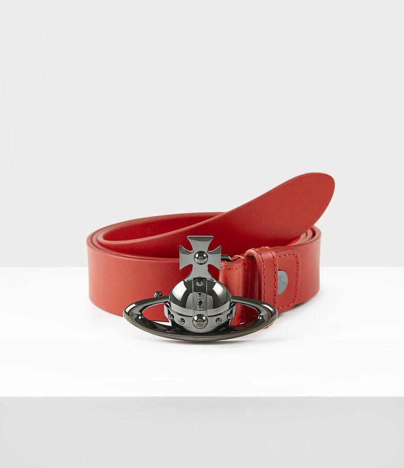 Orb Buckle Gun Metal Belt Red