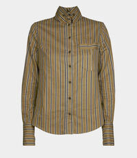 Krall Shirt Blue Stripe on Khaki Ground