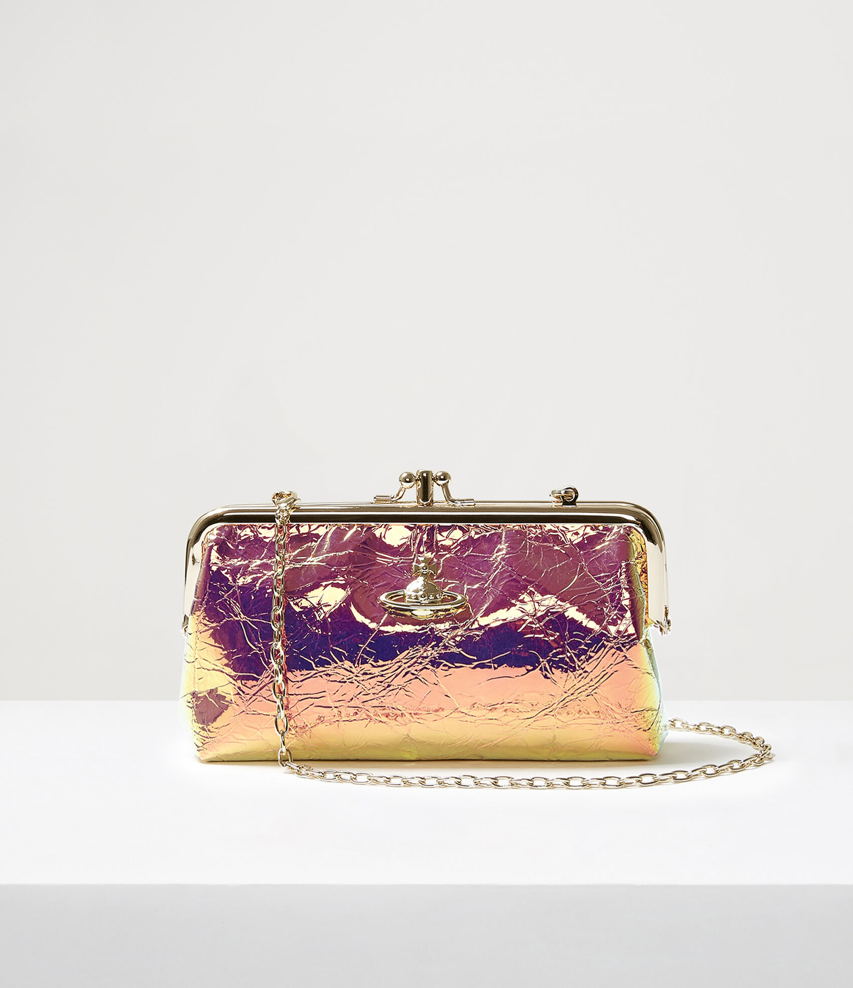 Archive Orb Double Frame Purse With Chain Gold  by Vivienne Westwood