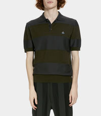 Knitted Polo Green/Grey Stripes
