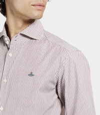 Two Button Cutaway Shirt Red/White Stripes