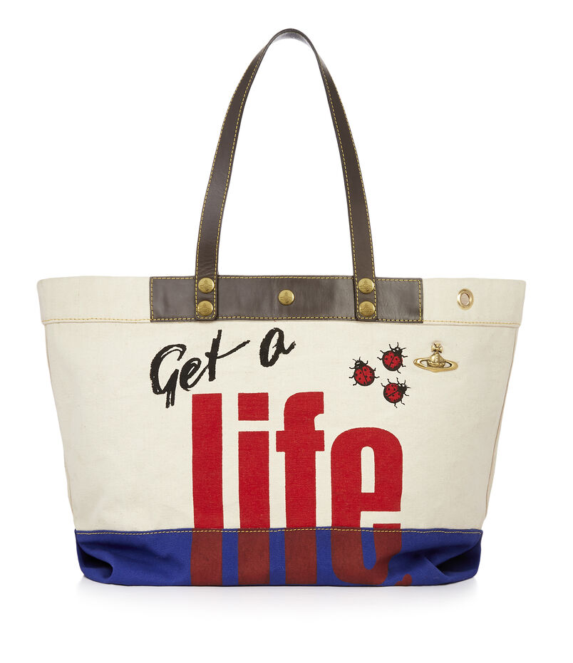 Get A Life Shopper Ivory/Royal Blue