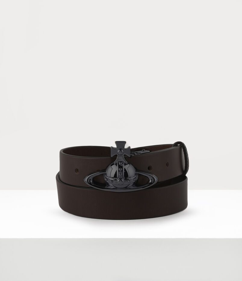 Belts Orb Buckle Gun Metal Belt Brown
