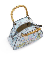 Medium Yasmine Dolly Bag with Bamboo Handles 45020003 Light Blue