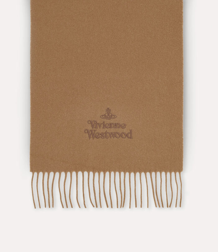 Embroidered Lambswool Scarf Camel 2