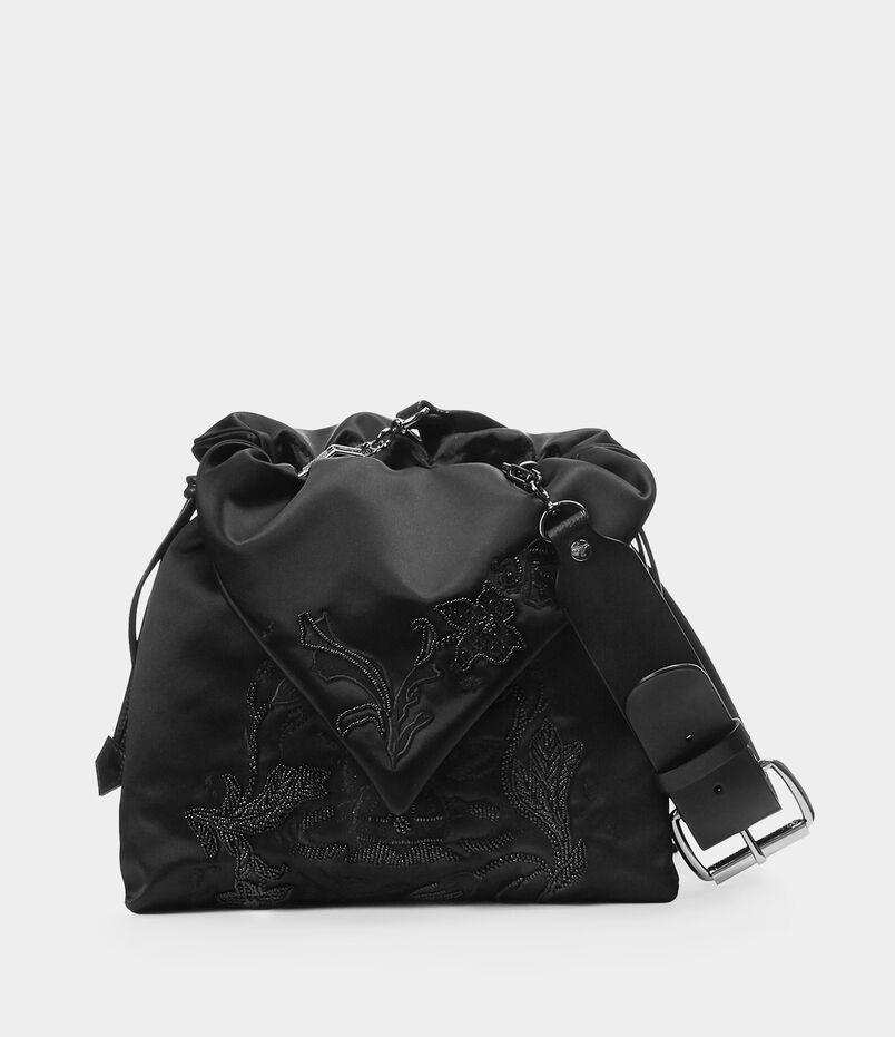 Satin Large Dolly Evening Bag Black