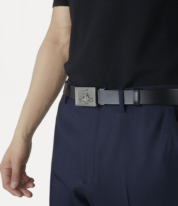 Silver Line Orb Square Buckle Belt Black 2