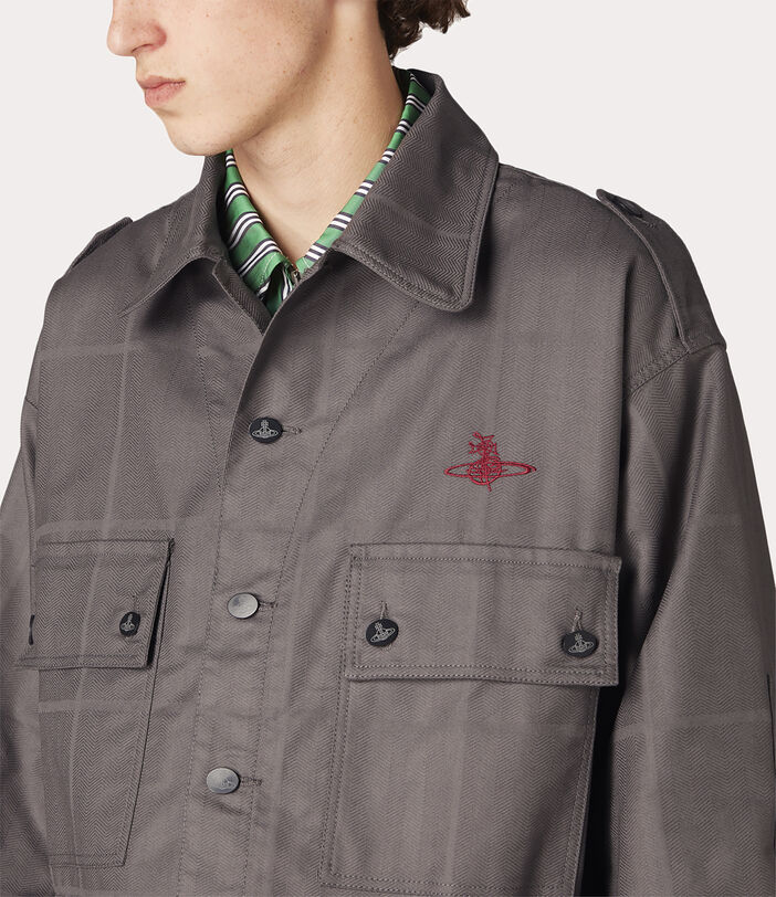 Ben Overshirt Grey Check Herringbone 5