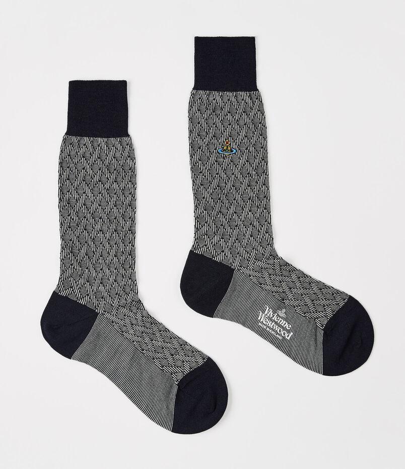 Lattice Socks Navy