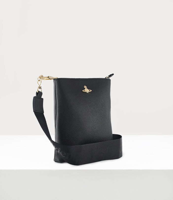 Square Crossbody With Webbing Strap Black/Gold 2