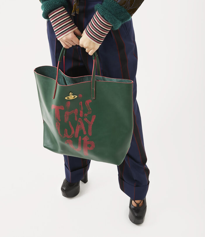 This Way Up Leather Shopper Green 2