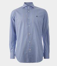 Two Button Cutaway Shirt Light Blue/Brown Stripes