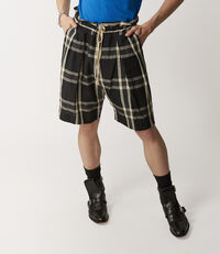 Samurai Shorts Black/White Tartan