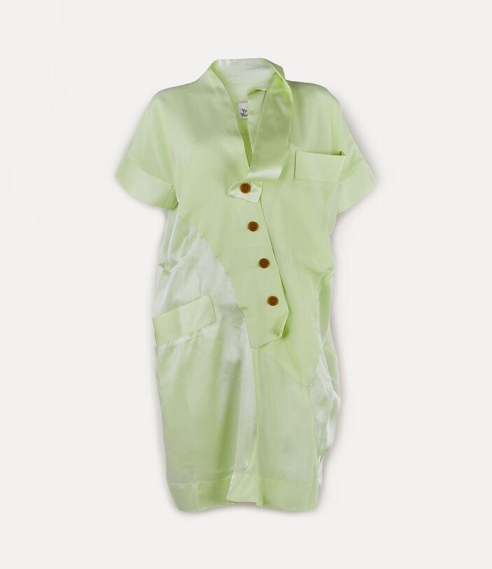Short Sleeve Arabesque Dress Lime Cream 1