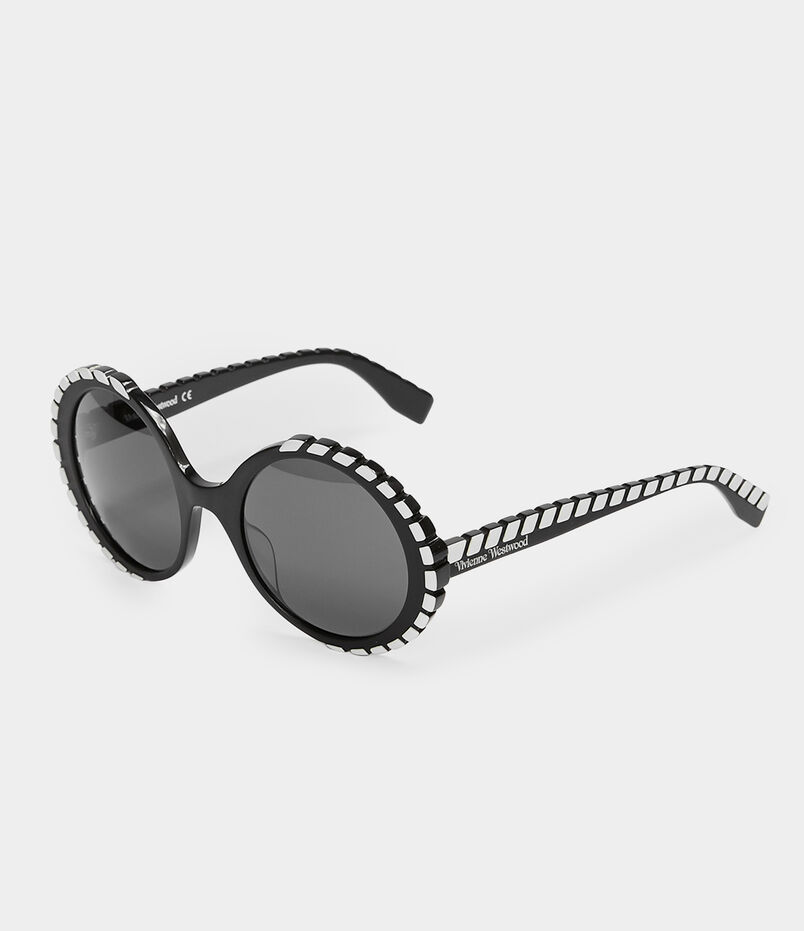 14db7bb792a Oversized Circle-Frame Sunglasses Black White