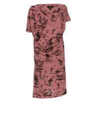 Grateful Print Drape Dress Red