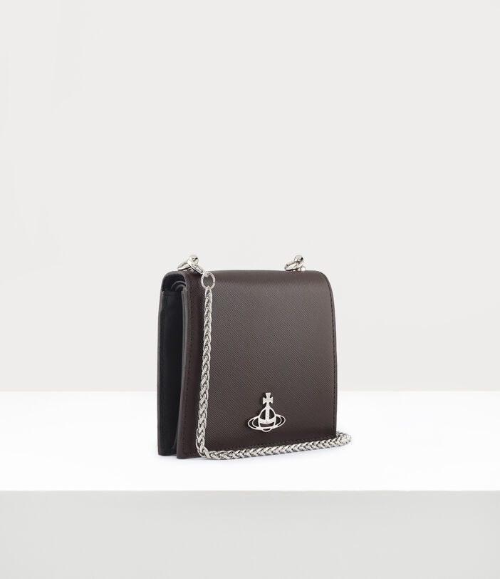 Debbie Card Case With Chain Brown 2