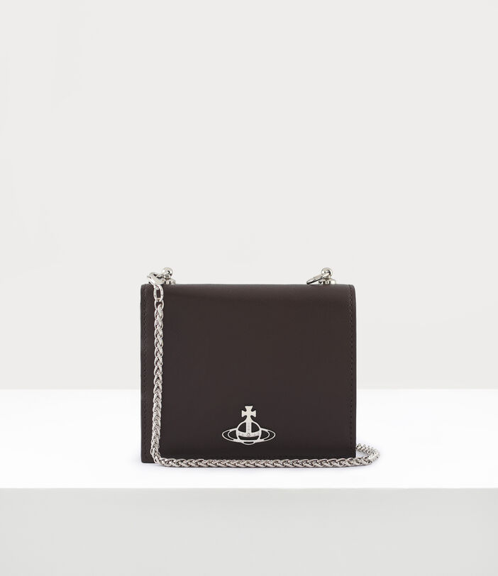 Debbie Card Case With Chain Brown 1