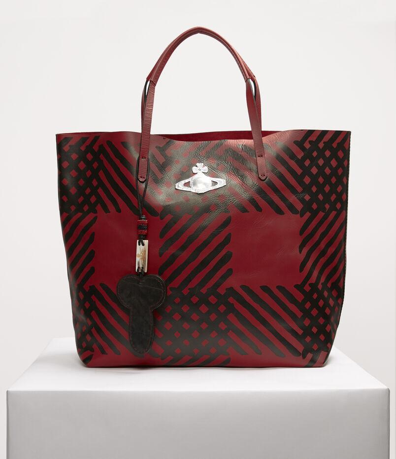 00a022e240b6 Leather Shopper Crini Check Red