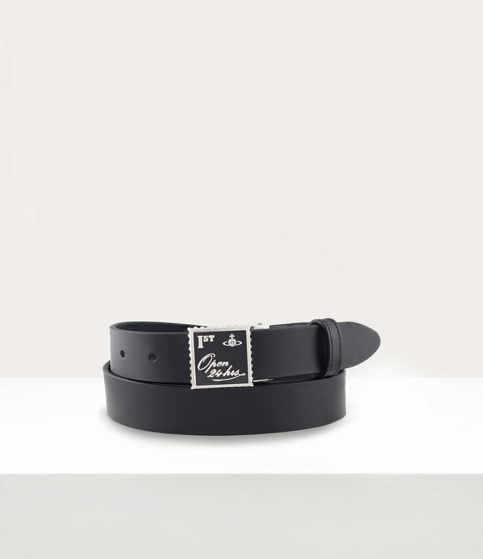 Open 24H Square Buckle Belt Black 1