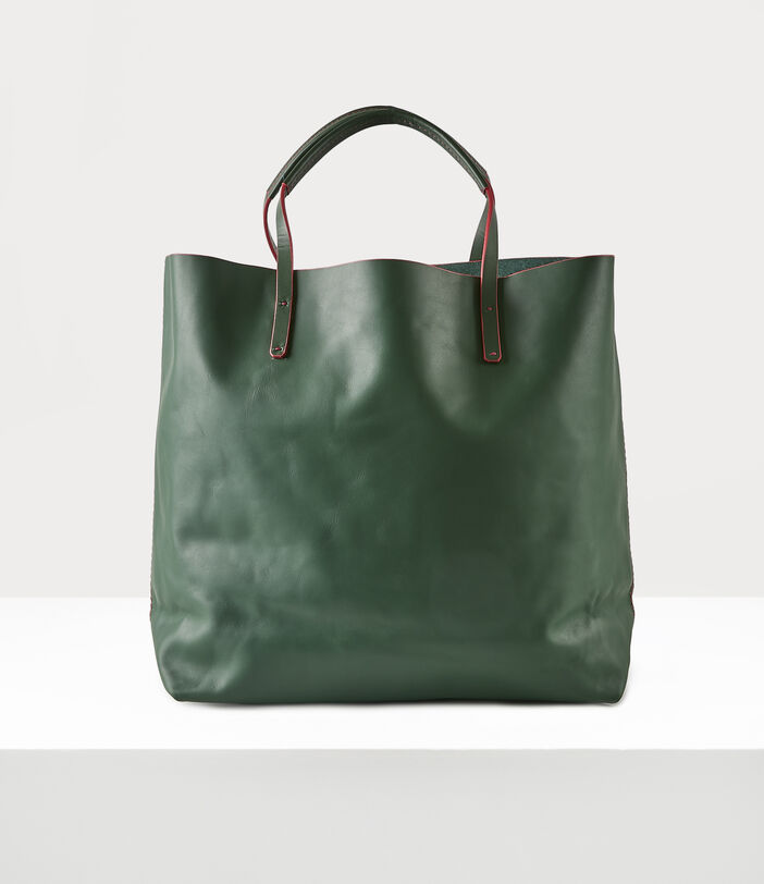 This Way Up Leather Shopper Green 4