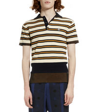 Ribbed Knit Polo Shirt Cream/Stripe