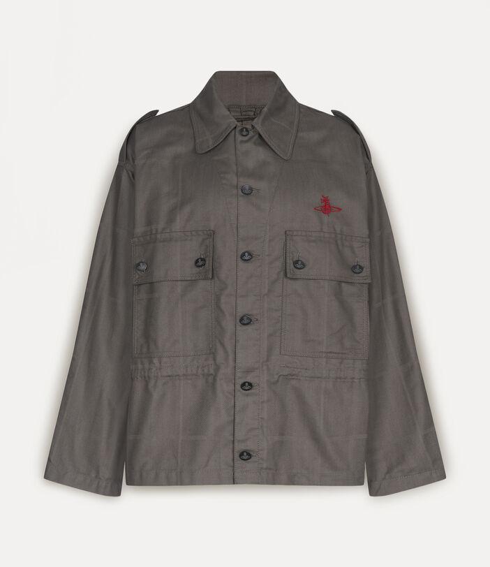 Ben Overshirt Grey Check Herringbone 1