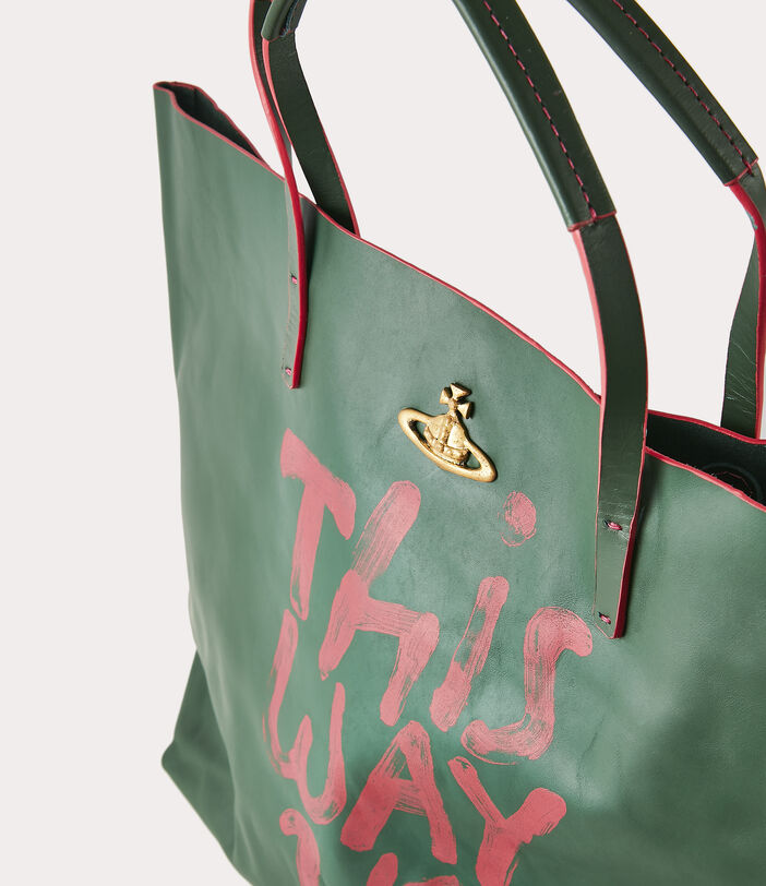 This Way Up Leather Shopper Green 5