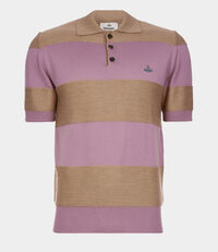 Knitted Polo Beige/Pink Stripes