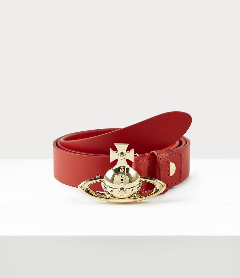 Orb Buckle Gold Belt Red