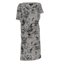 Grateful Print Drape Dress Grey