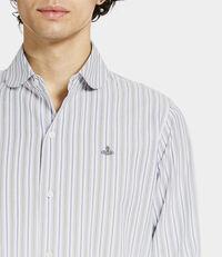 Pianist Round Shirt White/Blue/Green Stripes