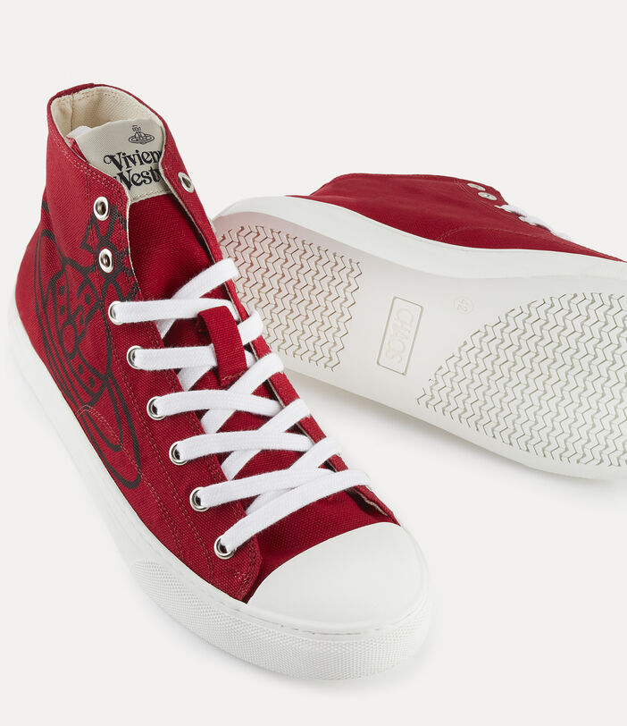 Men'S High Top Plimsolls Red 4