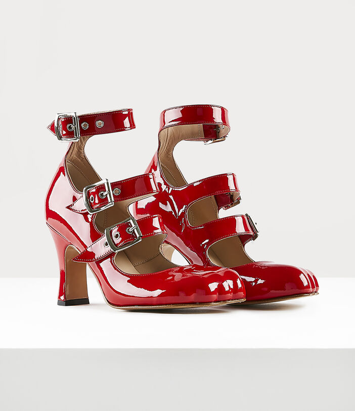 ANIMAL TOE THREE-STRAP SHOES RED PATENT 2