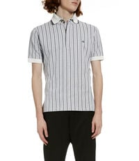 Overlock Polo Shirt Jacquard White/Grey