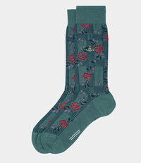 Spiral Check with Rose Motif Socks Jade