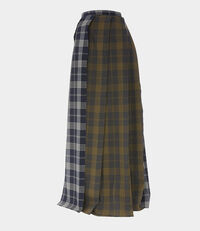 Raw Edge Pleat Skirt Amber on Grey