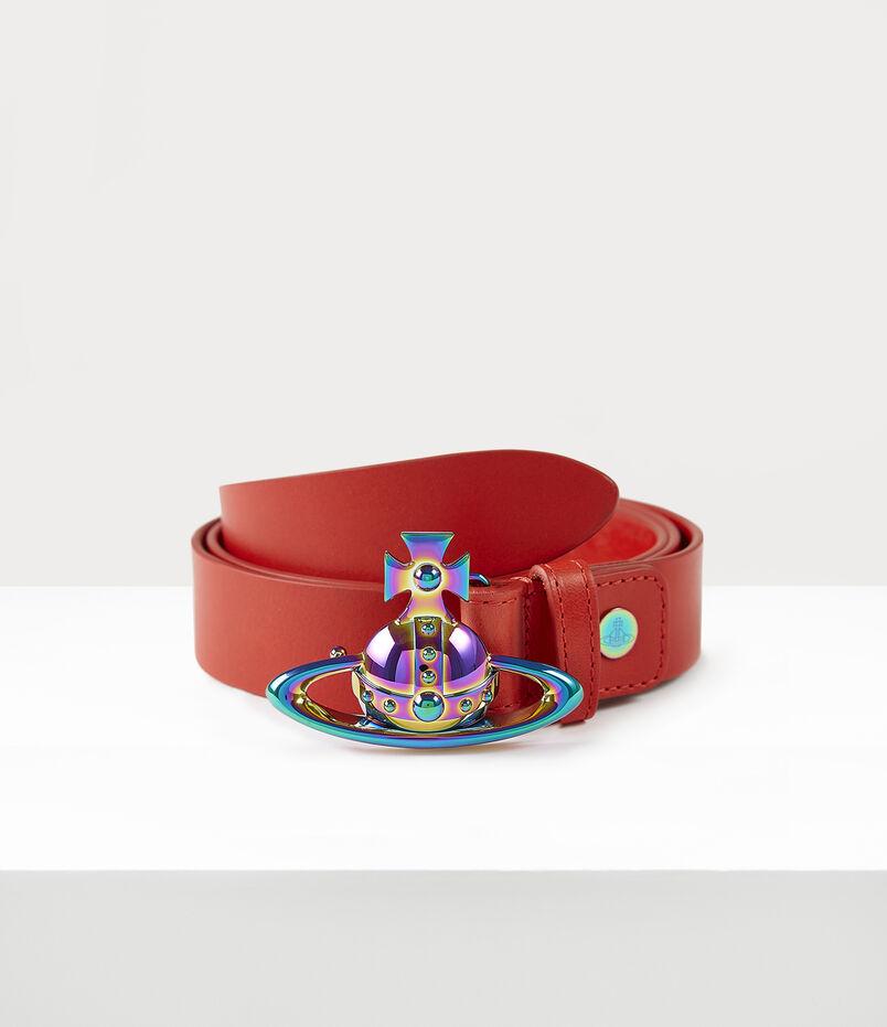 Orb Buckle Iridescent Belt Red