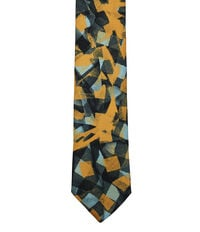 Check Print Tie Orange/Green