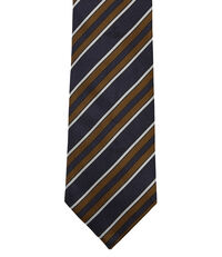 Striped Jacquard Tie Blue/Orange
