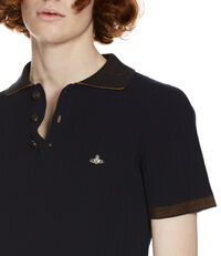 Ribbed Knit Polo Shirt Navy