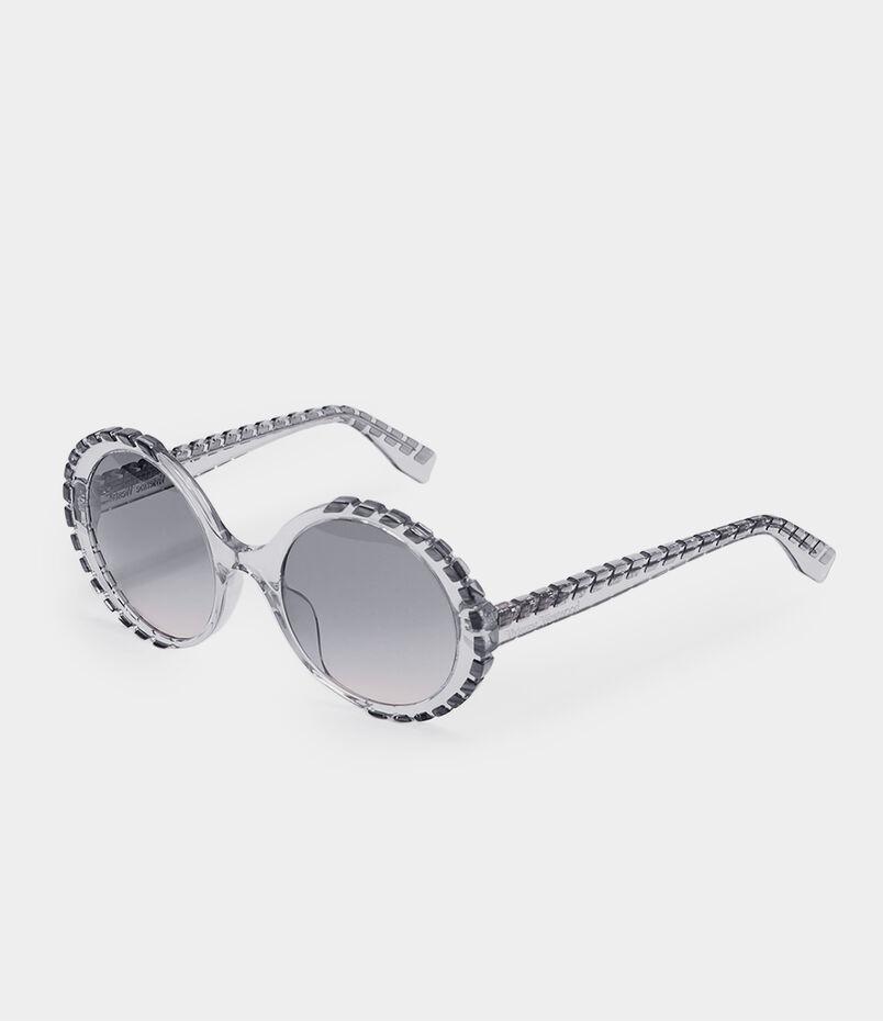 0e573b36c2 Oversized Circle-Frame Sunglasses Transparent Light Blue